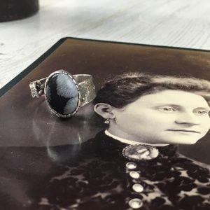 Artisan Made Snowflake Obsidian Ring 7.5